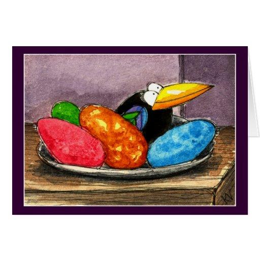 Do corvo do ovo da páscoa vida engraçada ainda cartões