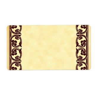 Do elemento barroco do vintage de Brown etiqueta