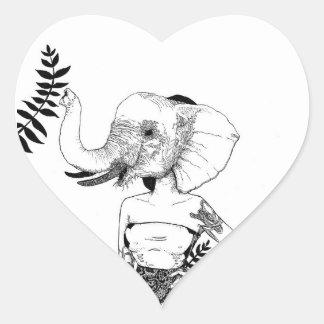"""Do """"etiqueta da mulher elefante"""" adesivo coração"""
