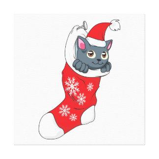 Do gato cinzento do gatinho do Feliz Natal cinza Impressão Em Tela