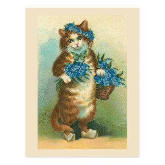 """Cartão Postal Do """"gato vintage com o cartão dos miosótis"""""""