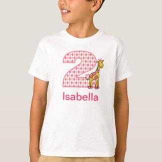 Do girafa da menina camisa customizável 2 do