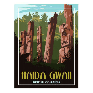 Do Haida de Gwaii cartão das viagens vintage BC -