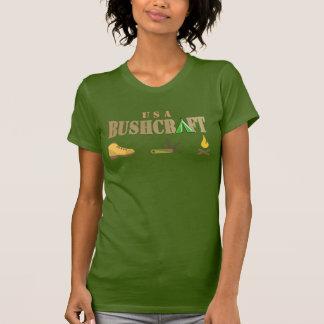 do logotipo de madeira do olhar do bushcraft tshirts