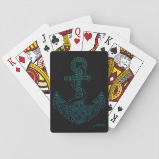Do mar náutico do esboço da arte da âncora preto jogo de carta
