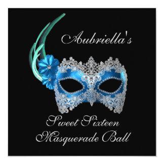 """Do """"máscara de turquesa da bola de mascarada doce convite personalizados"""