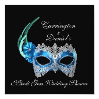 "Do ""máscara de turquesa do chá de casamento convite quadrado 13.35 x 13.35cm"