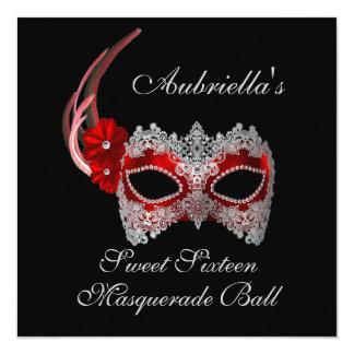 """Do """"máscara vermelha/branca da bola de mascarada convites personalizados"""