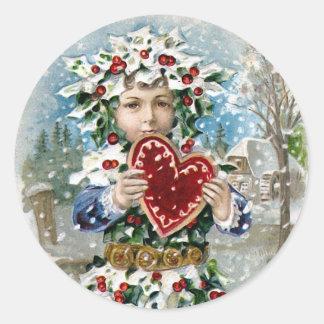 """Do """"natal vintage coração e da neve"""" adesivo redondo"""