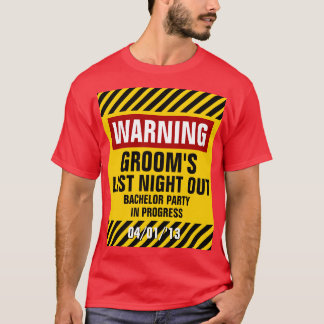 Do noivo despedida de solteiro de advertência a camiseta