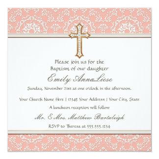 Do ouro infantil do baptismo da criança do bebê convites personalizados