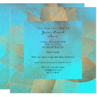 Do ouro metálico azul da folha de Tiffany Convite Quadrado 13.35 X 13.35cm