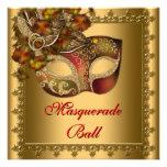 Do ouro vermelho da máscara do ouro partido vermel convites