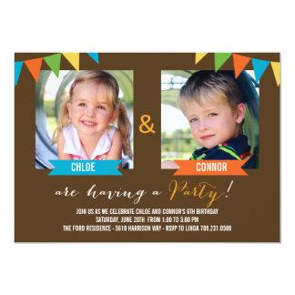 Do partido convites do aniversário junto - Brown
