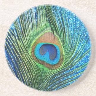Do pavão da pena vida azul Glittery ainda Porta Copos De Arenito