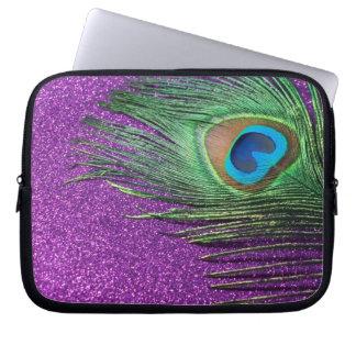 Do pavão da pena vida Glittery roxa ainda Capa De Computador Notebook