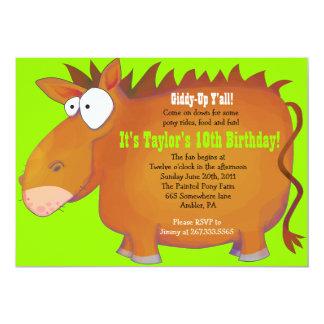 Do PÔNEI convite de aniversário PUDGY Horseback