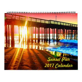 Do por do sol do cais calendário 2017 de parede
