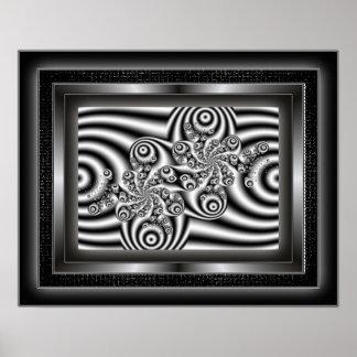 Do preto arte moderna do Fractal swirly Pôster