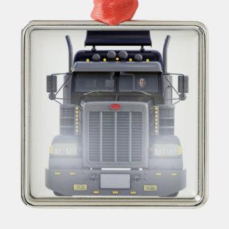 Do preto caminhão semi com luzes sobre na vista ornamento quadrado cor prata
