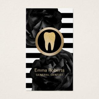 Do preto moderno das listras do dentista cuidados cartão de visitas