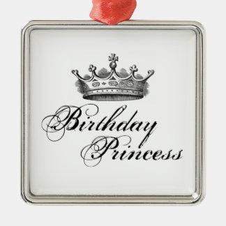 """Do """"princesa aniversário """" ornamento quadrado cor prata"""