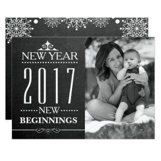 Do quadro da tipografia   do ano novo foto 2017 de convite 12.7 x 17.78cm