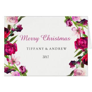 Do rosa bonito do rosa cartão 2017 de Natal floral