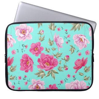 Do rosa brilhante chique da cerceta do vintage bolsas e capas de notebook
