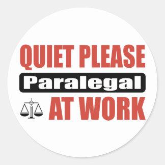 Do silêncio Paralegal por favor no trabalho Adesivo Redondo
