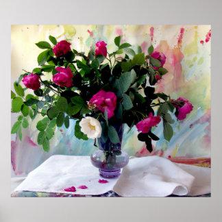 Do vaso impressão cor-de-rosa da vida ainda