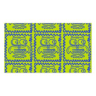 Do verde limão colorido das corujas do cartão de visita