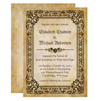 Do vintage antigo do quadro do Victorian casamento Convite 12.7 X 17.78cm