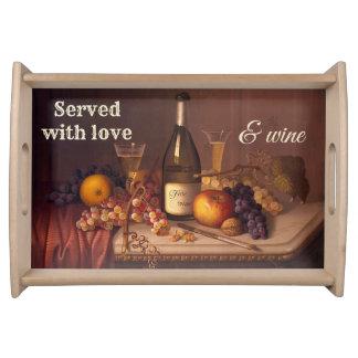 Do vintage bandeja temático do serviço do vinho da