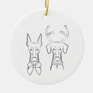 Doberman colhido & natural do ornamento do feriado