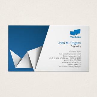 Dobras de Origami do cartão de visita do