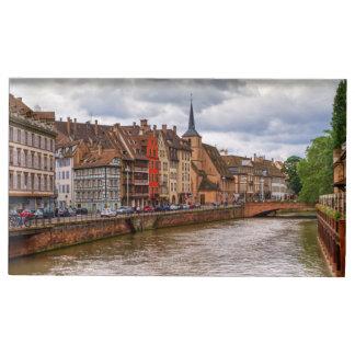 Doca do Saint Nicolas em Strasbourg, France Suporte Para Cartoes De Mesas
