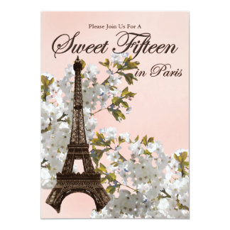 Doce 15 da torre Eiffel quinze convites Convite 12.7 X 17.78cm