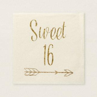 Doce 16 bolo da seta do brilho do ouro de guardanapo de papel