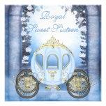 Doce 16 da princesa Carruagem Enchanted azul Convite