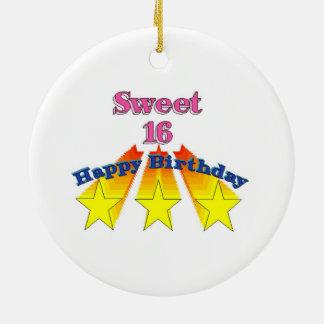 Doce 16 do feliz aniversario ornamento de cerâmica