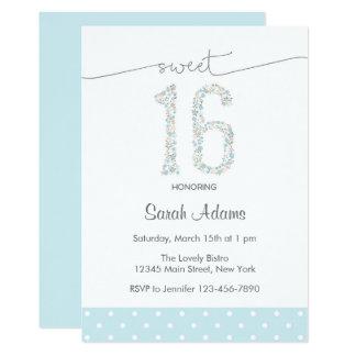 Doce azul convite de dezesseis aniversários