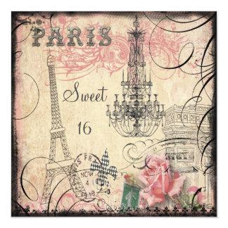 Doce chique 16 da torre Eiffel & do candelabro Convite Quadrado 13.35 X 13.35cm