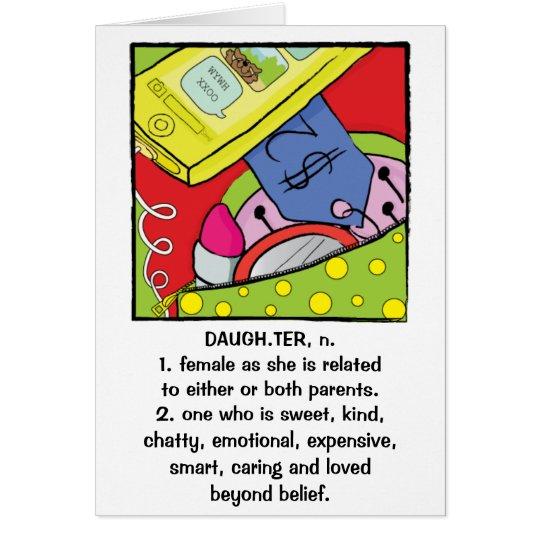 Doce cómico do cartão do aniversário da filha