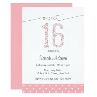 Doce cor-de-rosa convite de dezesseis aniversários