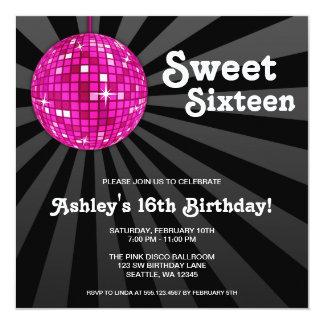 Doce cor-de-rosa da bola do disco 16 convites do