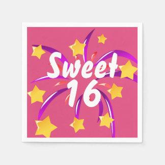 Doce cor-de-rosa dezesseis 16 guardanapo de papel