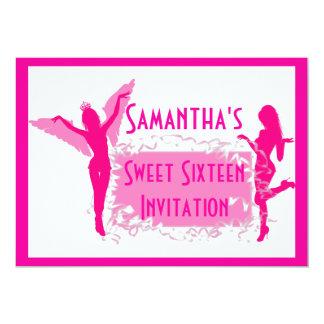 Doce cor-de-rosa dezesseis dos dançarinos convite 12.7 x 17.78cm