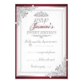 Doce de prata vermelho 16 da tiara do damasco de convite 8.89 x 12.7cm