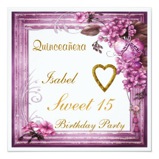 Doce de Quinceañera rosa de Rosa do convite de 15 Convite Quadrado 13.35 X 13.35cm